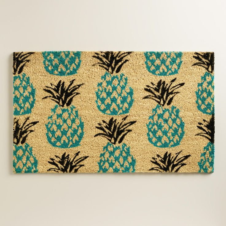 Blue Pineapple Doormat | World Market outside the door mat! Just got this beauty for the front porch #springtime