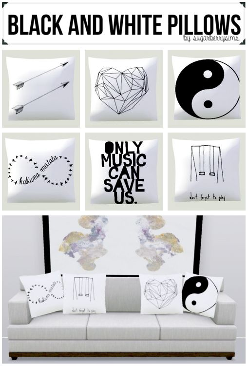 6 pillows with black and white prints by sugarberrysims - Sims 3 Downloads CC Caboodle