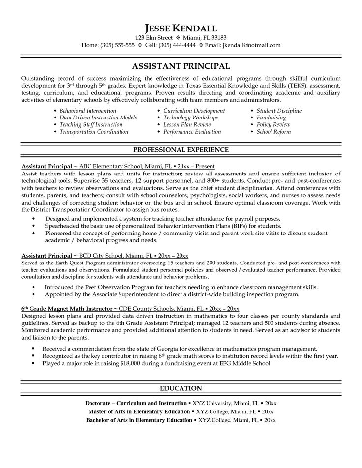 resume and vice principal assistant principal resume sample - Free Resume Template For Teachers