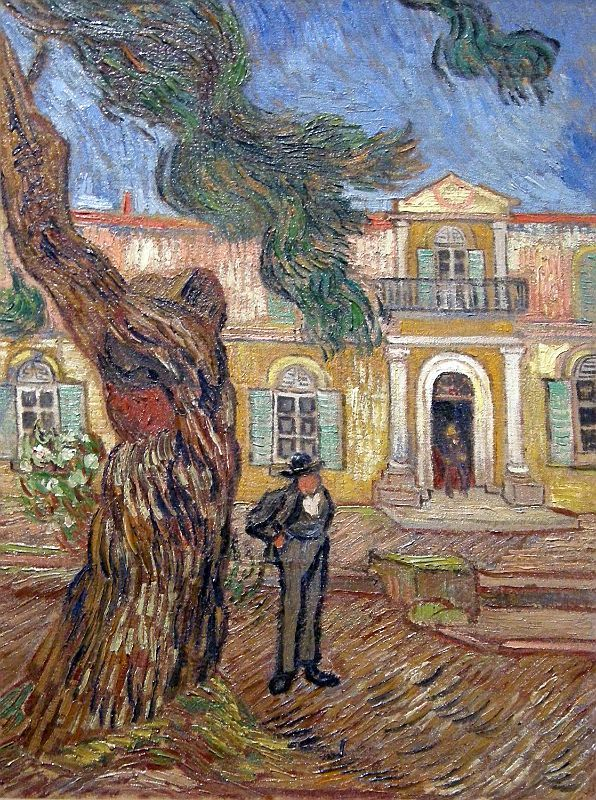 Vincent van Gogh - Pine Trees with Figure in the Garden of Saint-Paul Hospital, 1889
