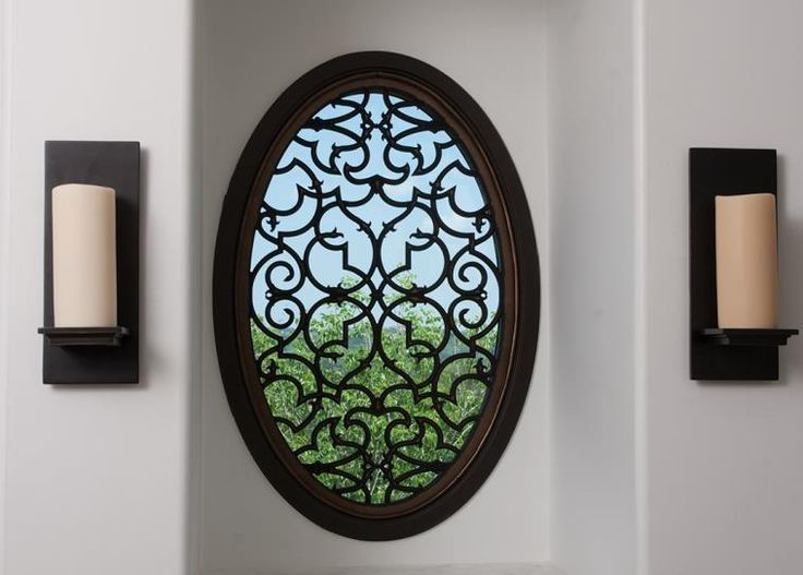 12 best images about faux iron on pinterest window for Window treatment for oval window