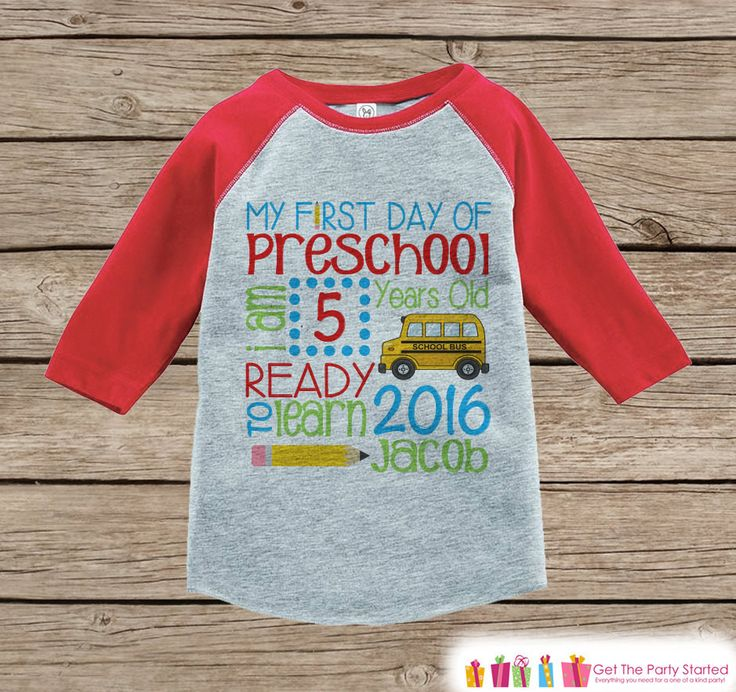 First Day of Preschool Outfit - Personalized Preschool Stats Shirt - Kids Stats Red Raglan - My 1st Day of School Outfit - Girls or Boys