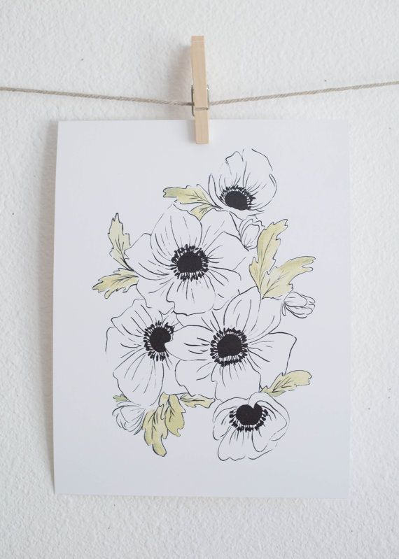 Black and White Anemones - Watercolor Floral by ShannonKirsten