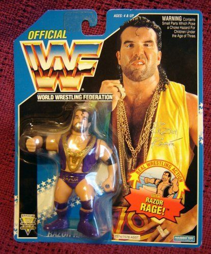 WWF Razor Ramon Aka Scott Hall on Blue Hasbro Card WWE WCW ECW by WWF Hasbro WWE. $39.99. Razor Rage move. Purple Outfit. Blue Card. Razor Ramone / Scott Hall Action Figure on Hasbro's Blue Card edition. Figure has Purple outfit and Gold Chains.