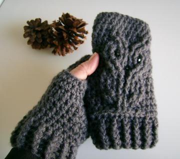 WOW! very cool #Handmade on #Zibbet Owl Crocheted Fingerless Gloves, Mitts, Mittens, Wristwarmers by customcrochet for $27.00