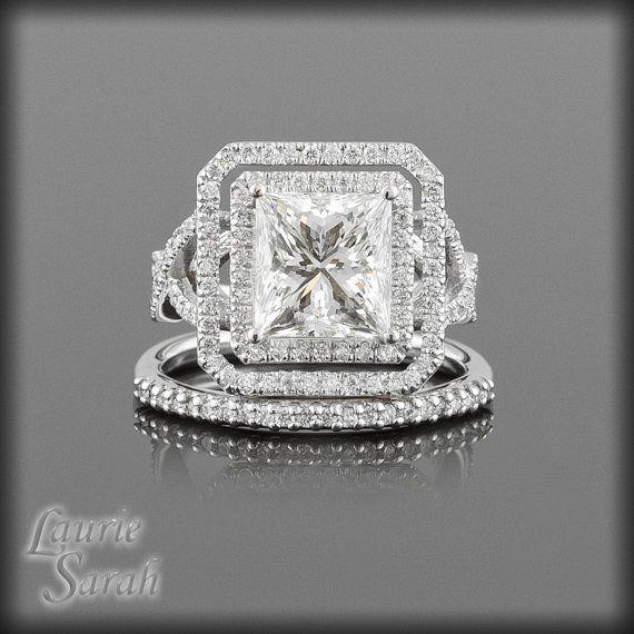 Princess Cut Diamond Wedding Ring  with by LaurieSarahDesigns, $16901.75