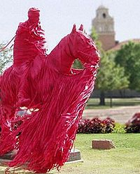 Texas Tech!!  The wrapping of the statue of Will Rogers and Soapsuds