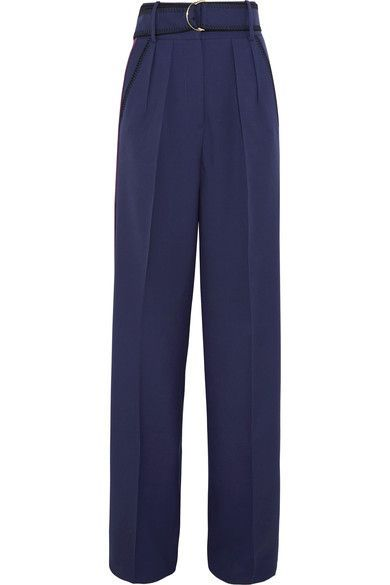 Roksanda - Tillae Satin-trimmed Wool And Silk-blend Wide-leg Pants - Midnight blue - UK