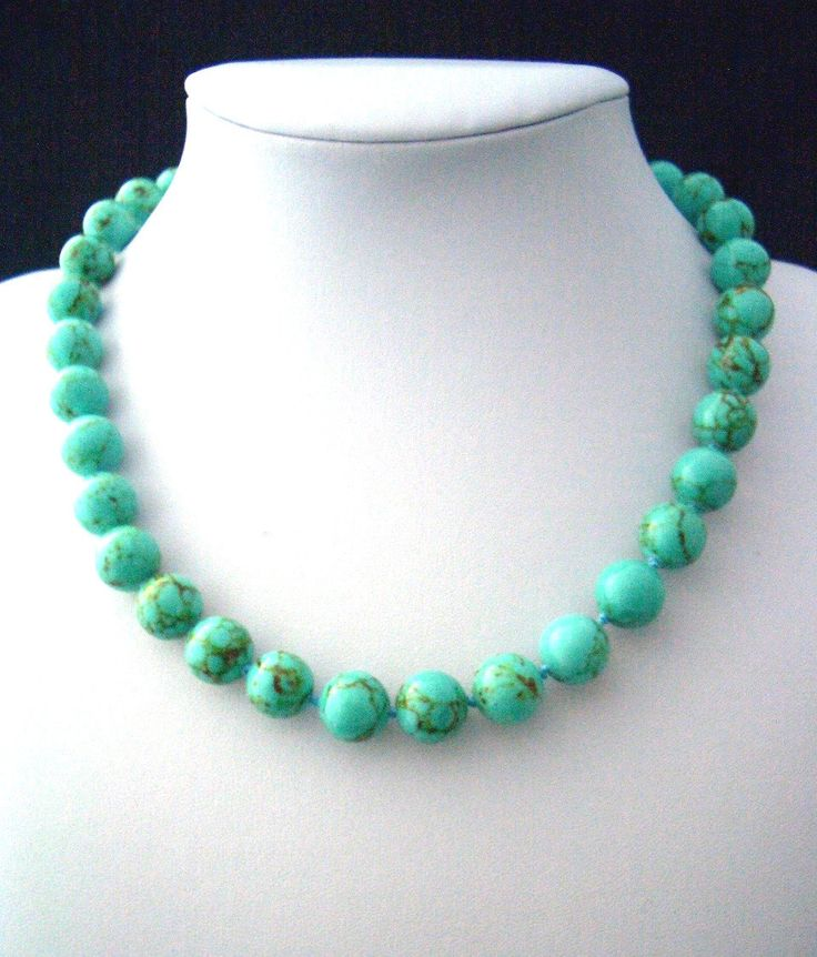Genuine Green-Blue TURQUOISE (Stabilised) Gemstones, Classic Necklace with Silver-Plated Clasps. by AmeogemJewellery on Etsy