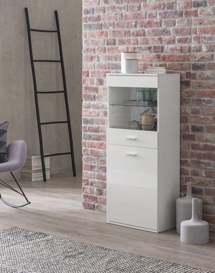 Sideboard Hoch Modern Kleiner Holschrank Mit Glas Weiß