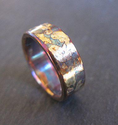 Mens Wedding Band Oxidized Silver Mens Wedding Ring Unique