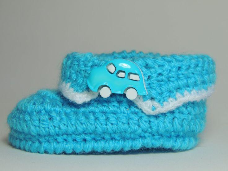 Sapatinho de Crochê Masculino com Lã Azul - Parte 2/3 (Canhotas)