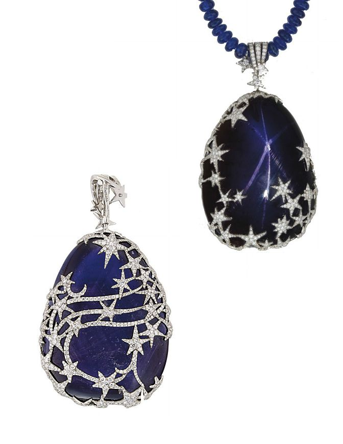 A HIGHLY UNUSUAL STAR SAPPHIRE AND DIAMOND PENDENT NECKLACE   The pear-shaped cabochon sapphire weighing approximately 250 carats showing a six-rayed star encased within a series of pavé-set diamond stylised star motifs to the sapphire bead necklace, 40.0 cm long