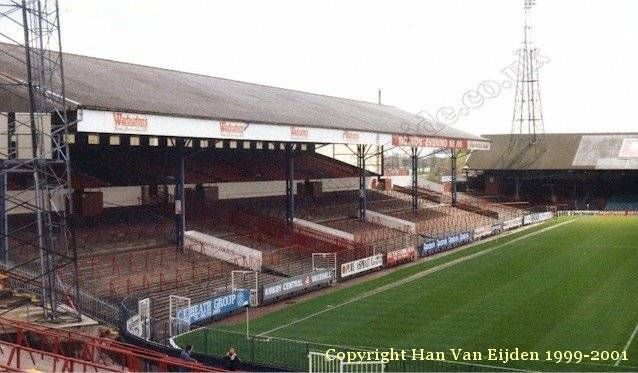Burnden Park, Bolton. I stood in the home end for a Bolton v Villa game. Villa won (yay!) but I mostly remember it for mascot Lofty The Lion being hilarious. But then there's nothing funnier than a mascot showing off and falling over.