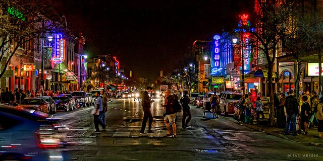 """Austin's """"Dirty"""" 6th Street.  Unique downtown night-life to relax in off-time from school"""