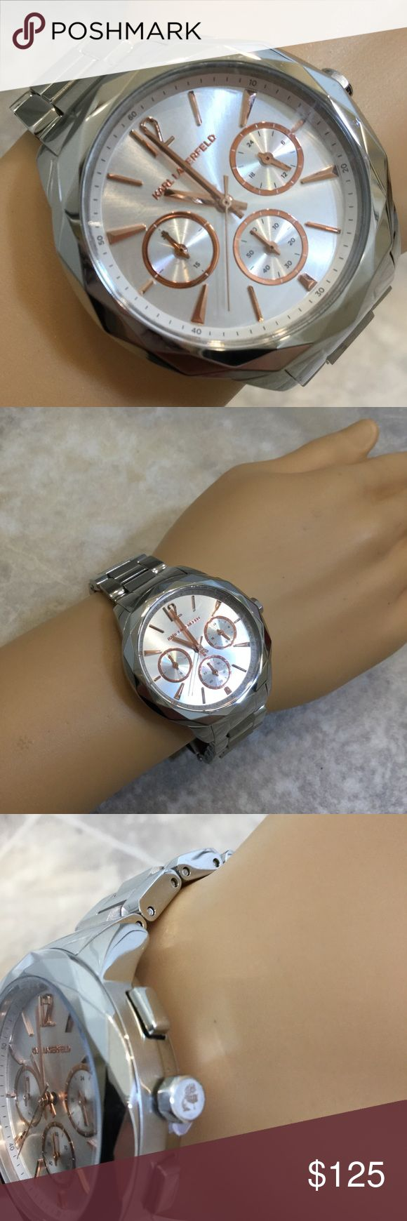 Karl Lagerfeld Watch Karl Lagerfeld silver watch with rose gold accents. Tag attached, but no box. Karl Lagerfeld Accessories Watches