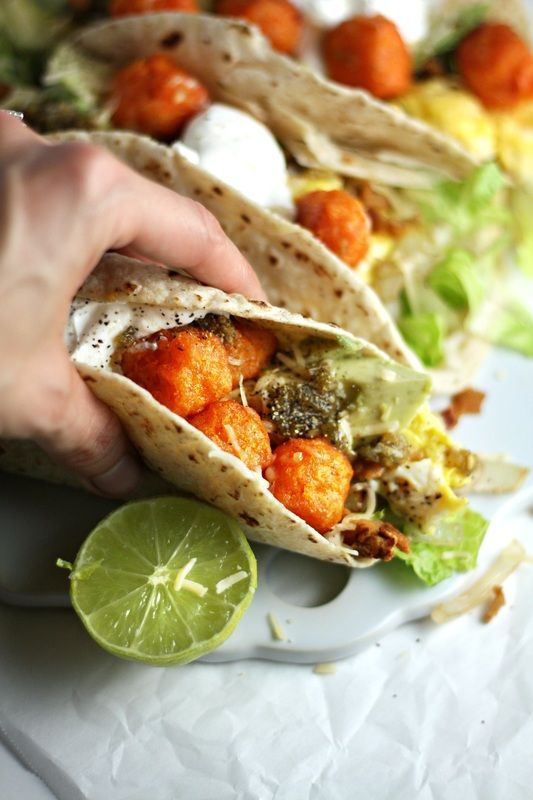 Breakfast Tacos with Sweet Potato Tater Tots, Scrambled Eggs and Salsa ...