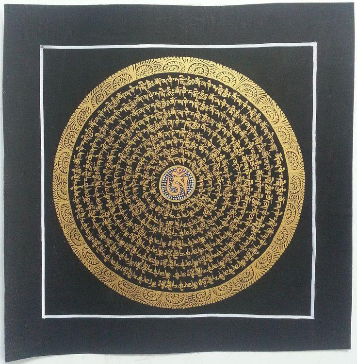 Cotton Canvas Mandala Art Hand Painted Thangka c36