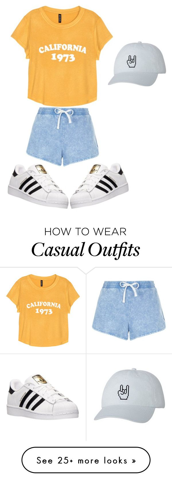 """""""Casual summer"""" by tigergirl219 on Polyvore featuring New Look and adidas"""