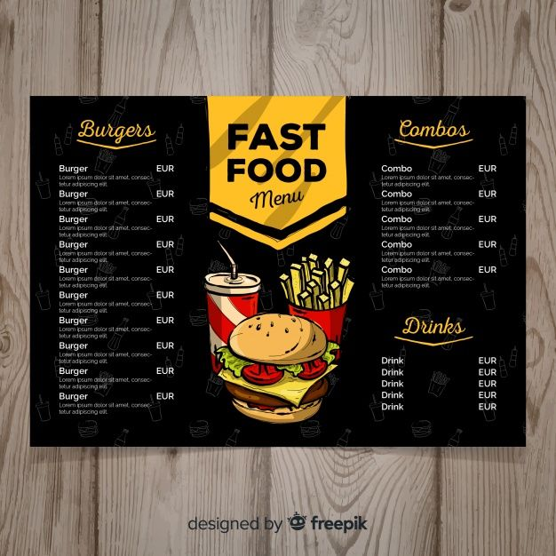 Download Hand Drawn Fast Food Menu Template For Free Projeto Do