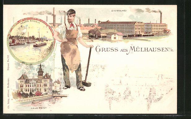 carte postale ancienne: Lithographie Mülhausen, Neue Post, Giesserei, Neues Bassin, Arbeiter, tramway