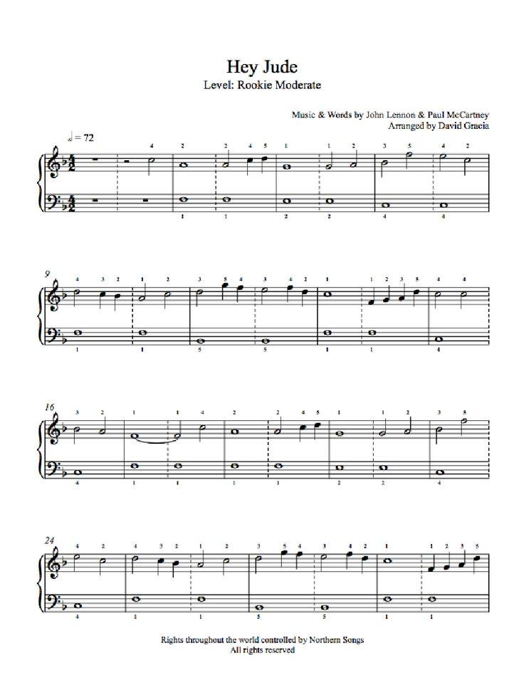hey jude easy piano sheet music pdf