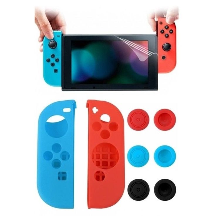 Nintendo Switch Tempered Glass Screen Protector Silicone Gel Case Controller #UnbrandedGeneric