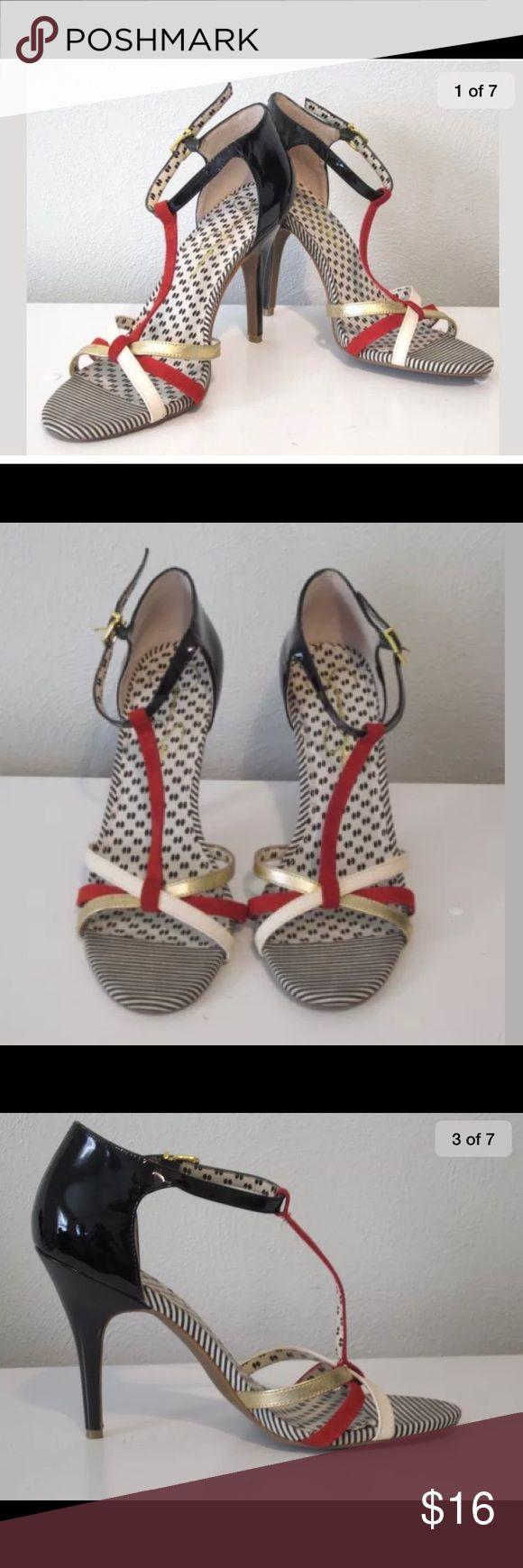 Jessica Simpson Red White Open Toe Heels 11B Jessica Simpson Red White Gold Black Strappy Open Toe Ankle Dancing Heels 11B Jessica Simpson Shoes Heels