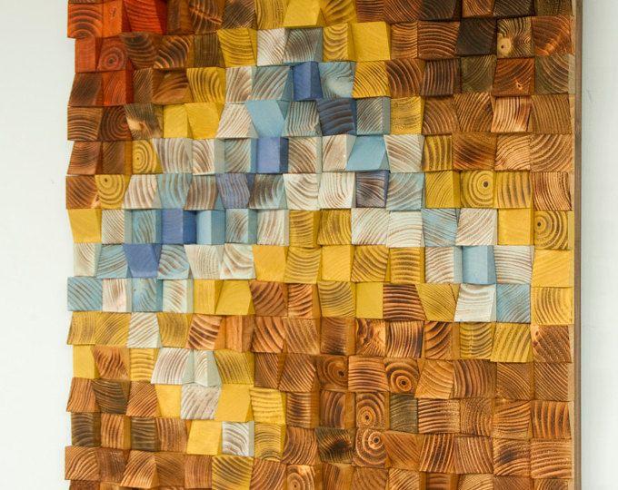 Arte de pared de madera de triángulos 3D, madera recicladas, mano pintada, woodburned, corte, teñido y arena. Cada pieza es pintada en acrílico único o tinte madera colores mezclados por mí y no está disponible en cualquier tienda, haciendo la escultura única y uno de una clase. Cada pieza de madera se corta en triángulos, woodburned y lijado a mano, teñido o pintado para recibir este extracto moderno mira pedazo. Pedazos de madera se pintan de una manera especial que después del montaje de…