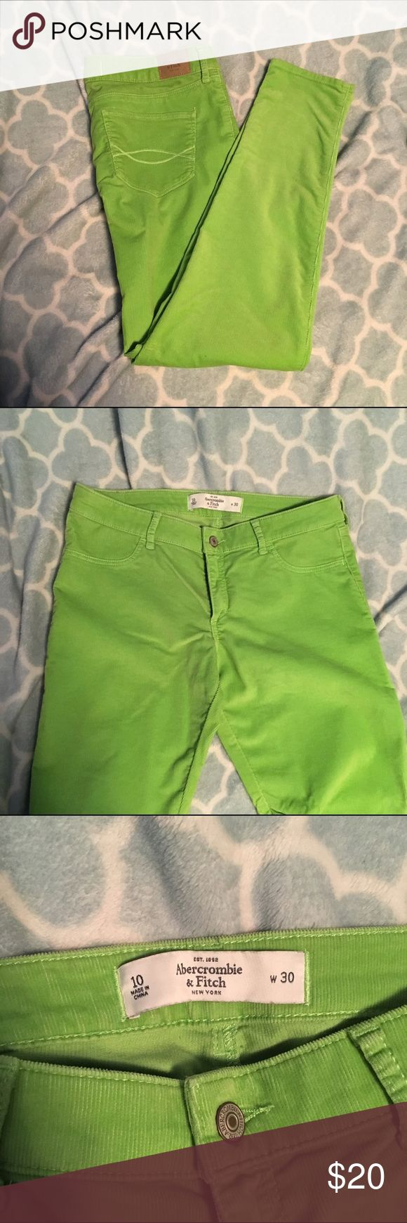 Lime Green A&F Corduroy Skinny Pants Size 10 A&F Corduroy Skinny Pants Size 10. Color is true to photos. In great condition, worn only once for a holiday party. They are soft to the touch and comfortable to wear. Abercrombie & Fitch Jeans Skinny