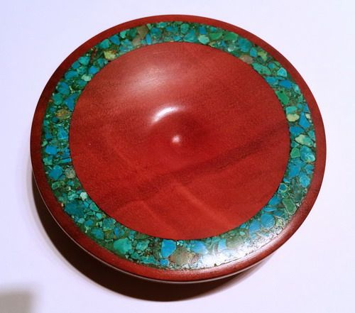 Redgum support bowl with Turquoise stone inlay crafted in May 2015