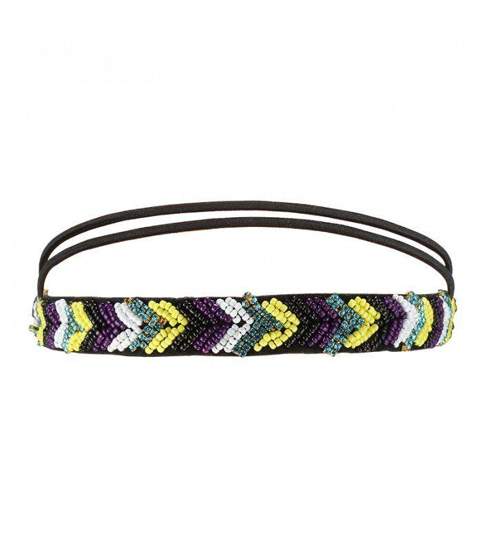 Gele haarband met elastieken band en mooie details | Mooie haarbanden koop je online | Yehwang fashion en sieraden