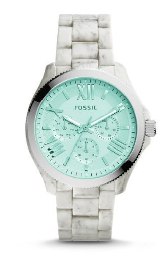 *NEW* Popular NOW reitred hard to find! Women's Fossil Watch CECILE AM4644 Minty Green Horn Acetate NWT Attached #Fossil #fossilwatch
