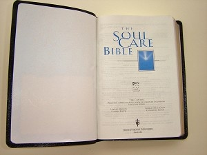 The inside first page of the Soul Care Bible NKJV by Tim Clinton