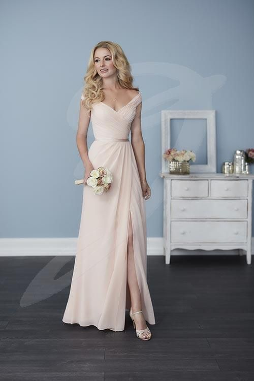 Jacquelin Bridals Canada - 22758 - Bridesmaids - Full-length A-line chiffon dress with pleated straps and bodice, a sweetheart neckline, and a cute satin belt. Pictured in: Blush Pink/Blush Pink