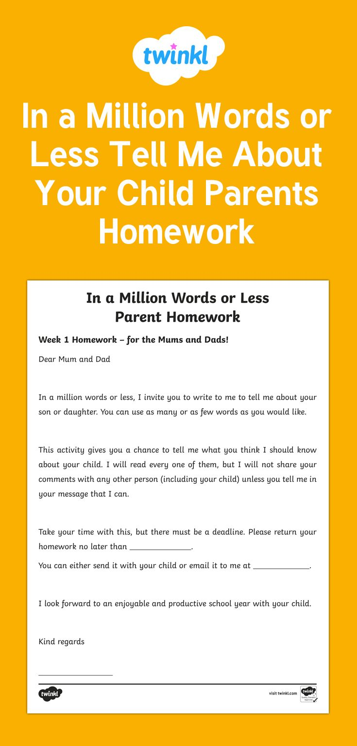 Lovely first week homework task for the parents to complete about their child.