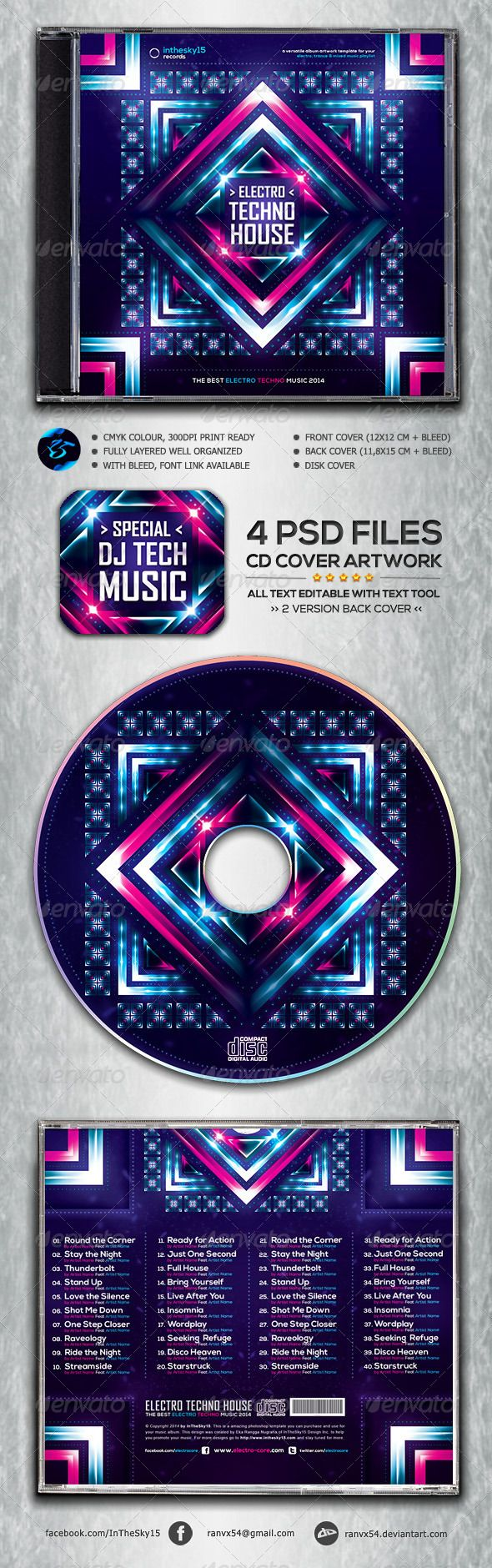 Electro Techno House CD Album Artwork — Photoshop PSD #cover #digipack • Available here → https://graphicriver.net/item/electro-techno-house-cd-album-artwork/6974100?ref=pxcr