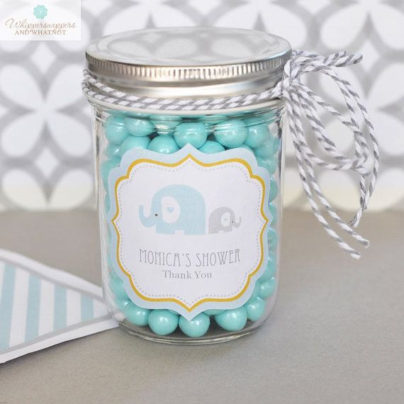Blue Elephant Baby Shower Personalized Mason Jars for a hint of vintage charm to…