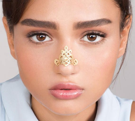 Big Gold Celtic Nose Cuff - alternative nose jewelry , edgy jewelry , celtic nose jewel , gold cuff , gemstone jewelry ,wedding jewelry