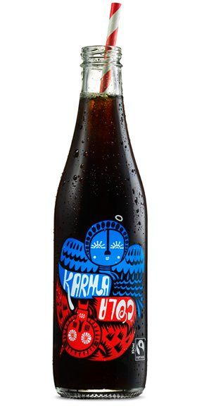 Karma Cola  Every time you drink it, part of the proceeds from each bottle sold will go back to the Boma Village in Sierra Leone. This will help to build a fresh water well, processing centre and store for crops, and help to buy tools to rehabilitate the cola plantations to help the Mende people to grow and sell more cola nut. PD