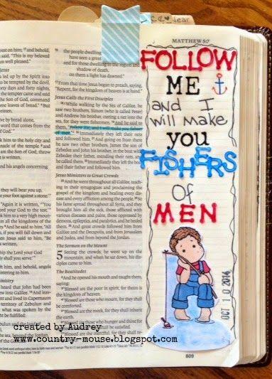 Matthew 4:19 Fishers of men in journaling Bible