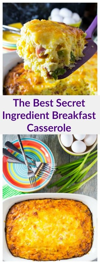 A delicious breakfast casserole full of eggs, bacon, ham, cheese and a super secret ingredient that will have everyone begging for more! | packmomma.com