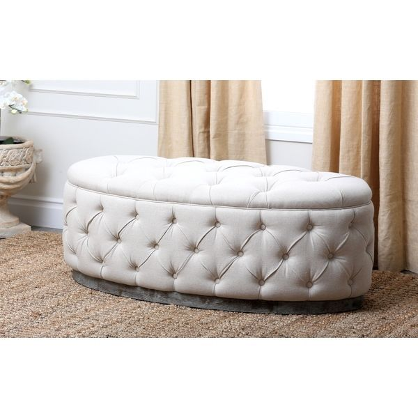 tufted beige linen fabric accent bench new tufted