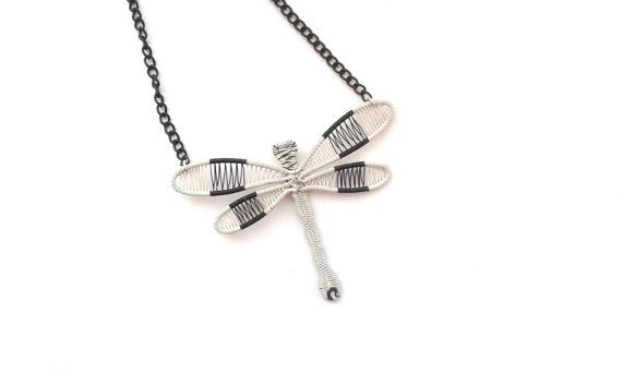 Wire Wrapped White And Black Dragonfly by DragonflyHJewellery
