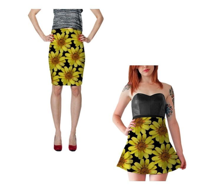 #Yellow #Floral #Skirt #Fitted ^Pencil #Skirt #Spandex #Flower by WhimZingers on Etsy $30