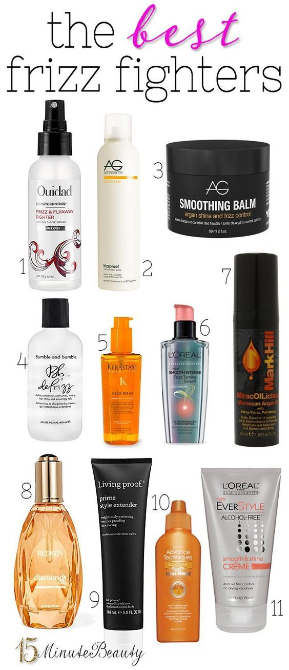 11 Great Anti-Frizz Hair Products via 15MinuteBeauty.com: