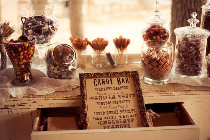 Candy Bar SignCandies Bar Signs, Candy Bars, S'Mores Bar, Candies Buffets, Country Weddings, Bar Ideas, Rustic Wedding Chic, Country Style Weddings, Vintage Style