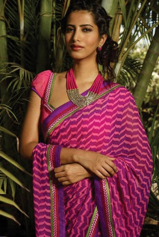 Pink and Purple Colour Georgette Material Sarees : Kitty Party Collection - YF-9565 Best Price 1,976
