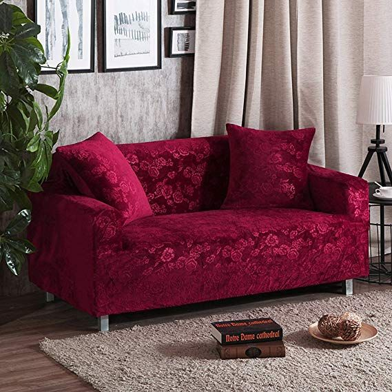Amazon Com Elastic Slipcover Plush Sofa Slipcover All Inclusive Solid Color Furniture Protector For 1 2 3 4 Corner Sofa Covers Sofa Covers Small Bedroom Decor