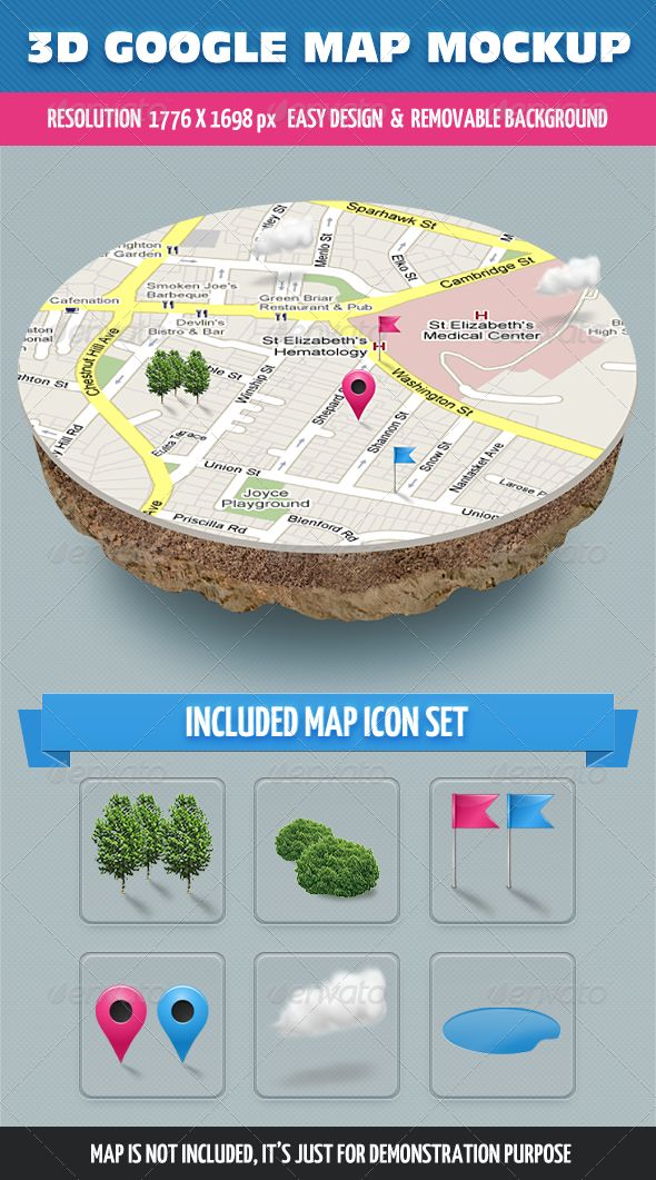 3D Map Mockup ...  3d map, catalogue, event, flag, generator, google, google map, ground, map mockup, navigation, pin, product mockup, road, sign, street, web site